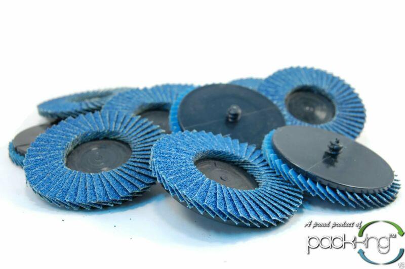 """(10pk) 3"""" Inch 60 Grit Flap Sanding Disc Wheels Type R Roloc Threaded Twist Lock"""