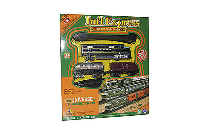 Eisenbahn Set Lok Moderne Lokomotive Waggons Schienen Licht & Sound 19tlg NEU