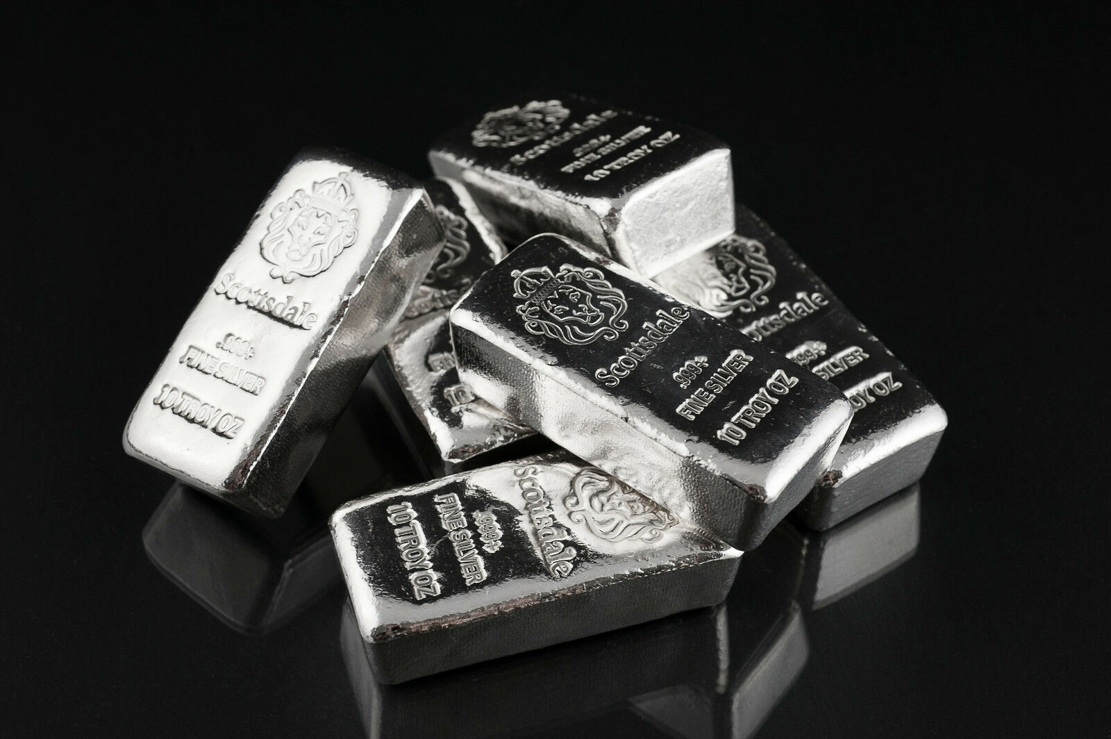 """10 oz .999 Silver Bar by Scottsdale Mint Loaf Pour """"Chunky"""" #A396"""
