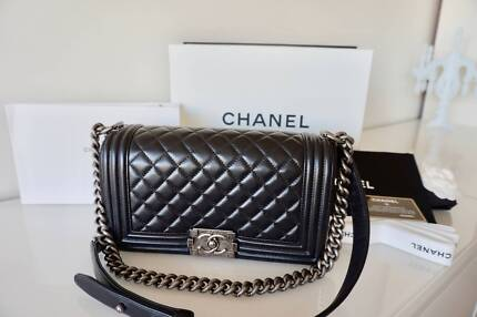 CHANEL Le Boy Black Lambskin Old Medium Flap Bag Shoulder Handbag