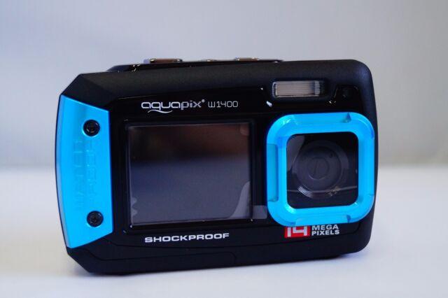14MP aquapix underwater digital camera, W1400, Dual Screen, 3m Waterproof, Blue