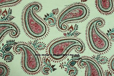 BY Yard Indian Paisley Hand Block Print Fabric Bohemian Fabric Quilting Fabric