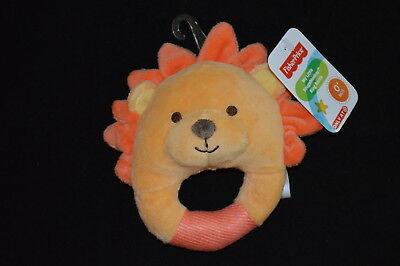 NWT Fisher Price My Little SnugaMonkey Ring Rattle Plush Yellow Orange LION