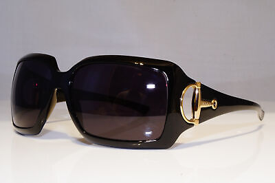 GUCCI Womens Vintage Designer Sunglasses Black Square HORSEBIT GG 2562 D28 26143