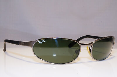 RAY-BAN Mens Vintage 1990 Designer Sunglasses Silver Rectangle RB 3142 004 23902