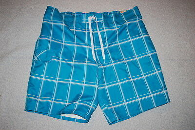 Square Leg Bathing Suit (Mens Board Shorts TURQUOISE w/ WHITE SQUARES Knee Length LEG POCKET Sz 2X)