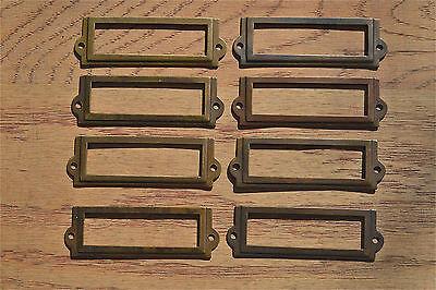 8 antiqued brass file cabinet label holder name plan chest map drawer LH1