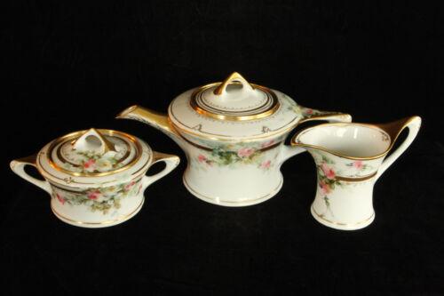 BEAUTIFUL HAND PAINTED ROSES ANTIQUE HUTSCHENREUTHER 5 PIECE PORCELAIN TEA SET