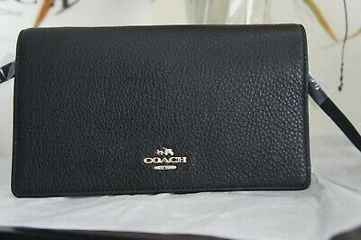 NWT Coach F30256 Foldover Clutch Crossbody In Pebble Leather Black $188