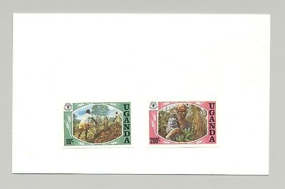 Uganda #393-394 World Food Day, UN, Bananas 2v Imperf Proofs on Card