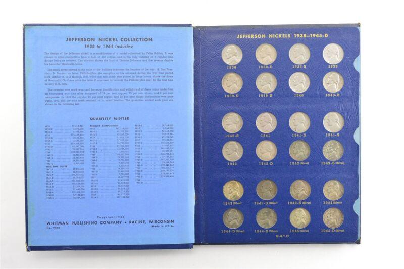 COMPLETE SET - 1938-63 Jefferson Nickel Collection SILVER War 1950-D Nice Album