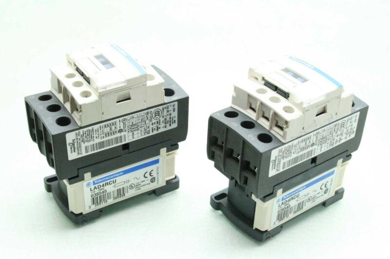 2 Schneider Elec. LC1D38 Industrial Contactors, 24VDC, w LAD4RCU Coil Suppressor