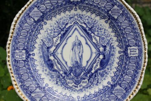 Antique Coalport Plate 1897 Queen Victoria Diamond Jubilee Blue White China