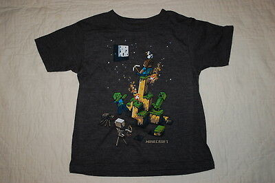 Boys S/S Tee Shirt MINECRAFT Charcoal Gray DUCK SKELETON SPIDER Buildings XS 4-5 (Minecraft Duck)