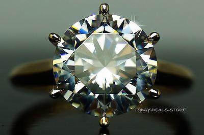 3.0 CT engagement ring round cut  VVS/D aniversary white & yellow gold 14K