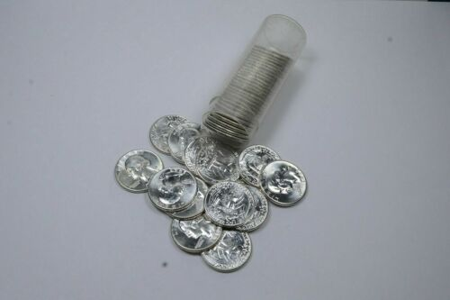 (40) 1958-1964 BU Unc Washington Silver Quarters 90% Silver $10 ROLL FACE Bulk