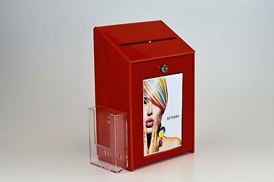 Lockable Collection / Suggestion Box + 1/3rd A4 Leaflet Holder PDS9463 RedLH
