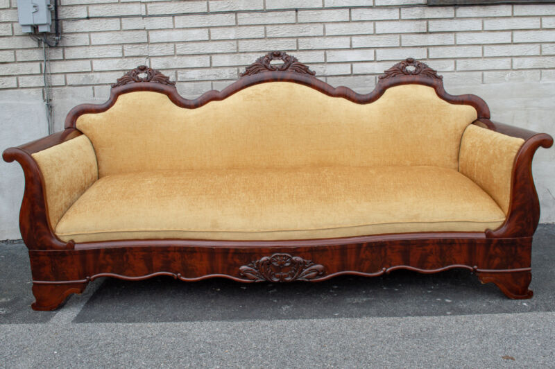 Mahogany American Empire Sofa Antique 19th Century Newly Upholstered & Restored