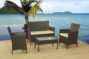 RATTAN GARDEN FURNITURE SET SOFA TABLE CHAIRS PATIO CONSERVATORY OUTDOOR WICKER