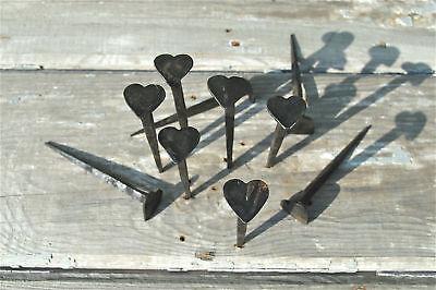 Set of 10 hand made wrought iron large Shaker heart nails coat peg barn hangers