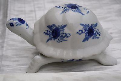 Vintage 1940s Blue and White Porcelain Turtle