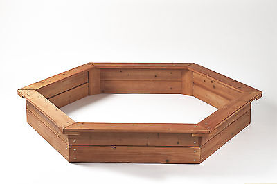Garden Games Large Wooden Sandpit Hexagonal with Cover and Underlay 1.5 Metres