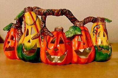 Vintage Ceramic 5 Carved Pumpkins Tea Light Candle Holder. Halloween Fall Décor.