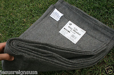 4 lb GREY WOOL BLANKET Military Army Style Emergency Survival Camping Blend