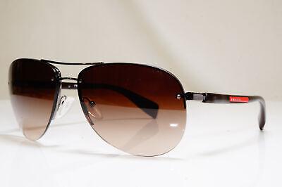 PRADA Mens Designer Sunglasses Brown Pilot SPS 56M 5AV-6S1 26404