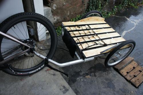 Full Custom Built Reclaimed Wood Aluminum Bicycle Cargo Cycling Trailer Schwinn