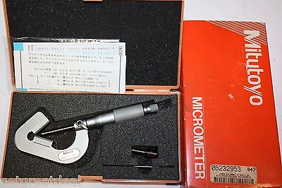 Mitutoyo 114-202 .090-1x .0001 V-anvil Micrometer Ratche Carbide Tipped Anvil