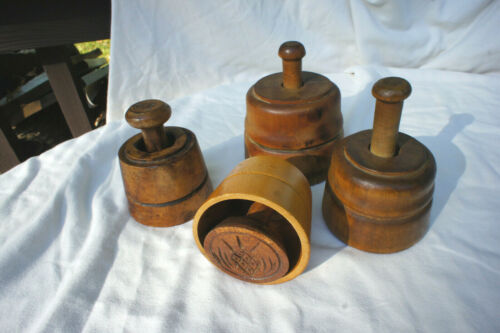 """4 Vintage Primitive Wooden Cookie Butter Stamps Press 4""""-5.5"""" Tall"""