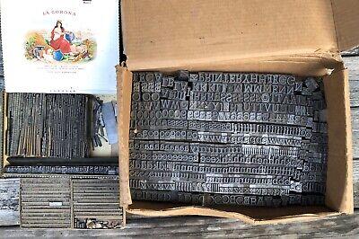 Antique Letterpress Type Lead Sets Printing Press Letters Symbols Vintage