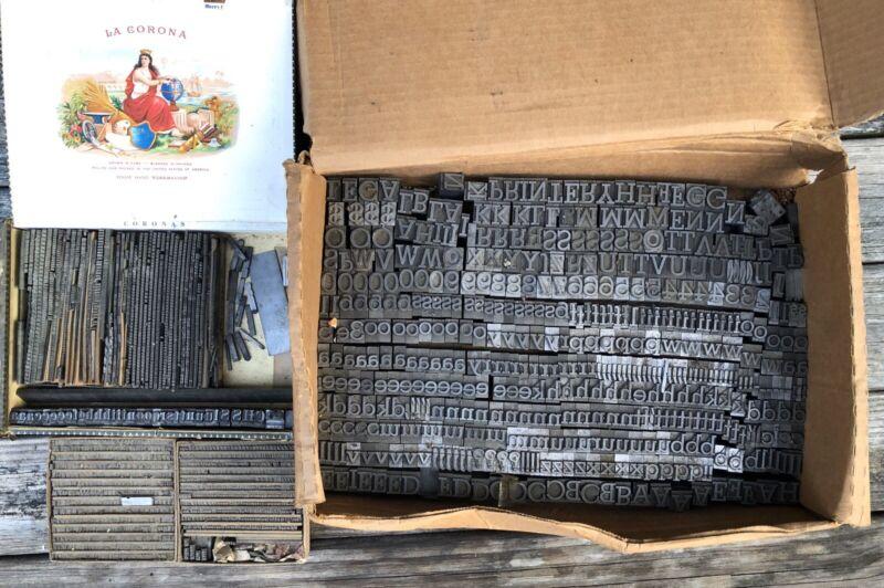 Antique Letterpress Type Lead Sets Printing Press Letters & Symbols Vintage
