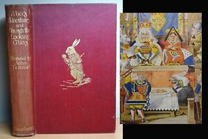 1921 Alice in Wonderland & Through The Looking Glass LEWIS CARROLL Antique Book