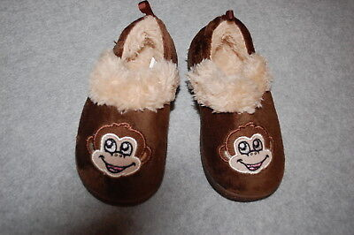 Baby Toddler Boys BROWN MONKEY SLIPPERS Faux Fur Lined RUBBER SOLE Size S - Boys Monkey Slippers