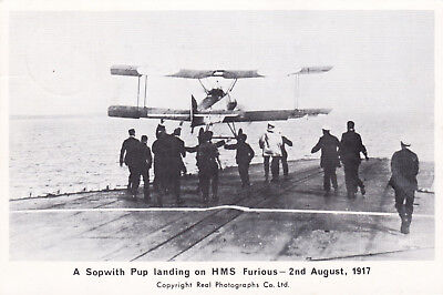 GB 1967 50TH ann.1st Aircraft Landing on ship underway Sopwith Pup Postcard VGC