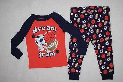 Navy Blue Team Ball - Baby Boys L/S KNIT PAJAMA SET Orange Navy Blue DREAM TEAM Sports Ball 9 12 18 MO