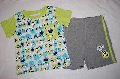 Baby Boys DISNEY MONSTERS INC UNIVERSITY Shorts & T-Shirt  NB 0-3 3-6 6-9 12 MO