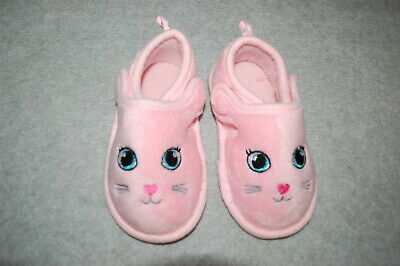 Baby Toddler Girls PINK BUNNY SLIPPERS Rubber Sole SIZE 5-6 7-8 - Baby Bunny Slippers