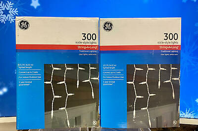 2-Sets of 300 Icicle-Style String-A-Long Clear Lights, Indoor/Outdoor~Christmas