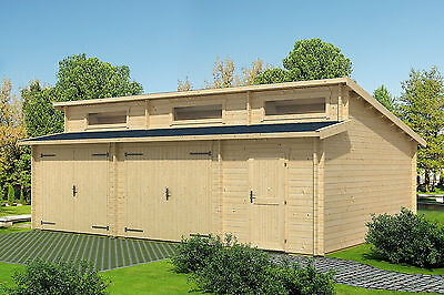Garage Hawaii B mit Schwingtor Carport Schuppen Blockhaus 540x800 cm 44 mm