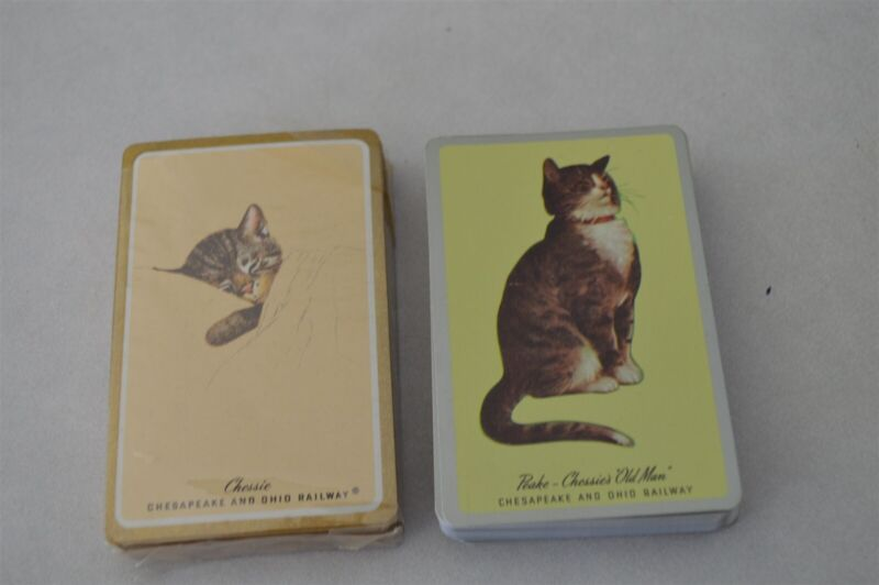 Vintage Double Deck Chessie Cat C&O Railroad Playing Cards Unused