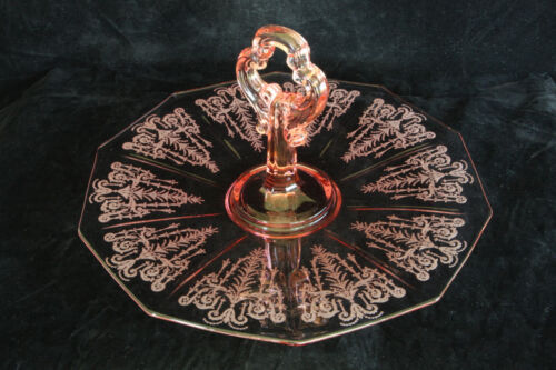 """CAMBRIDGE GLASS PINK CLEO ETCHED DECAGON CENTER HANDLED SANDWICH TRAY # 870 11"""""""