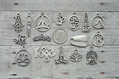 16pc pr 5pc Yoga Charm Set Lot Collection /Namaste, Lotus, Ohm,Hamsa, Instructor (Yoga Charms)