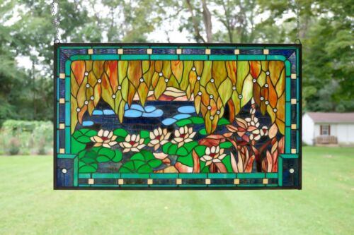 """Stained glass window panel Waterlily Lotus Flower Pond ,34.75"""" X 20.5"""""""