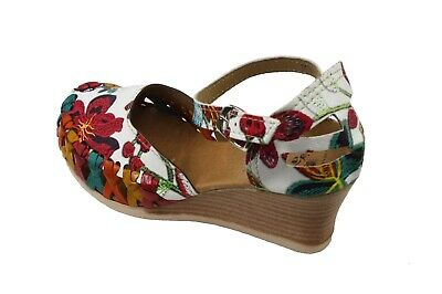 Leather Espadrilles Wedge - Women Genuine Leather Espadrille Wedges Mexican Sandals with White Flower Paint
