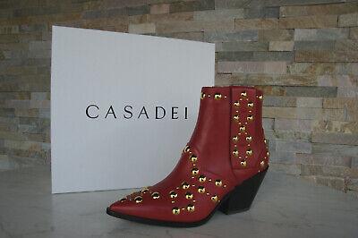 Casadei 37 Botines Cowboy Tobillo Botas Zapatos Rojo Chilli Nuevo Antiguo
