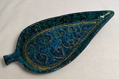 MCM Mid Century Modern Ceramic Pottery LEAF Dish Mottled Spatter Turquiose