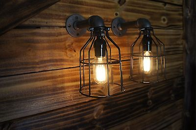 Qty 2 ( 1 pair ) Edison Age Light wall Sconces, Steampunk Pipe Light, Industrial